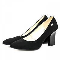 Стильные женские туфли из замши черного цвета на необычном каблуке. Высота каблука 8 см.