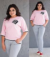 b90e4bcecf0 Летний спортивный костюм больших размеров женский трикотажные штаны и кофта  рукав 3 4