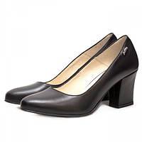6491639da Комфортные женские туфли из кожи черного цвета на широком устойчивом каблуке.  Высота каблука 7 см