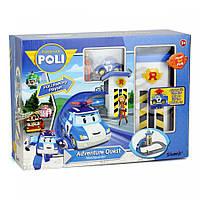 POLI Трек с подъемником металлическая машинка Поли + фигурка Джин в комплекте