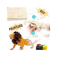 ROBOTIME 3D Painting Puzzle Lion / Конструтор-раскраска Лев