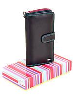Кожаный кошелек на кнопке стильный Rainbow DR. BOND