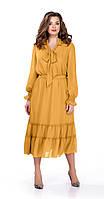 Платье TEZA-157 белорусский трикотаж, желтые тона, 48