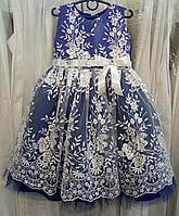 337366d0948 Шикарное синее нарядное детское платье-маечка с кружевом и пайетками на 3-5  лет