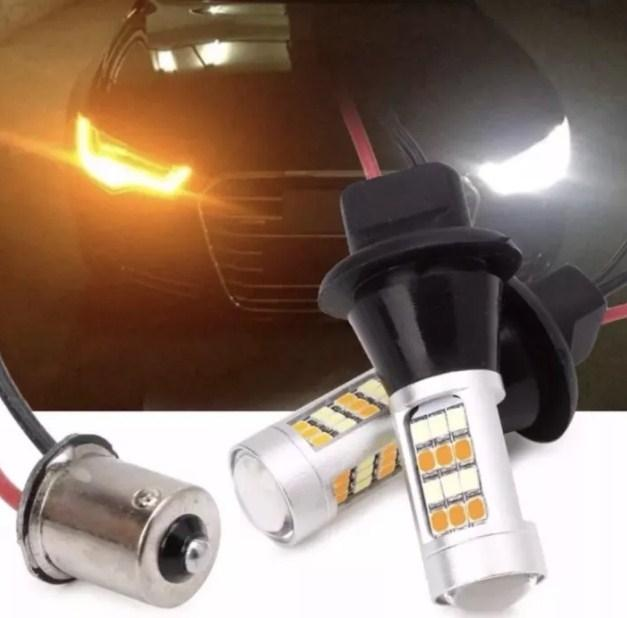 LED ДХО + повороти DRL ,дневние ходовие огни + поворот 2 в1 CAN BUS (нет ошибок) 1156 BA15S P21W 12V