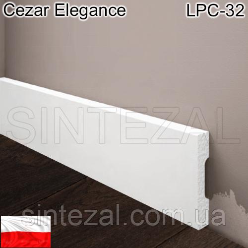 Прямоугольный белый плинтус Cezar Elegance LPC-32, H=58 мм.
