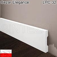 Прямоугольный белый плинтус Cezar Elegance LPC-32, H=58 мм., фото 1