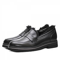 Стильные и уютные женские туфли из натуральной кожи черного цвета, на меху и толстой подошве.