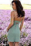 Летний стрейчевый сарафан мини мятного цвета, фото 3