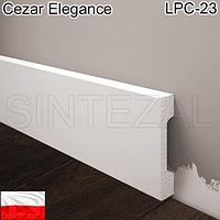 Прямоугольный белый плинтус Cezar Elegance LPC-23, H=69 мм.