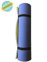 Коврик (каремат) 120*50*0.8 см для туризма и спорта Eva-Line двухсторонний синий/желтый
