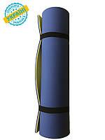 Коврик (каремат) 180*60*0.6 см для туризма и спорта Eva-Line двухсторонний синий/желтый