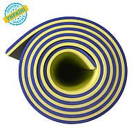 Коврик (каремат) 180*60*0.8 см для туризма и спорта Eva-Line двухсторонний синий/желтый