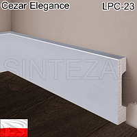 """Ламинированный """"под алюминий"""" плинтус Cezar Elegance LPC-23-148, 68х15 мм."""