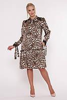 """Платье летнее с длинным рукавом """"Лея""""  р. 50-56 леопард"""
