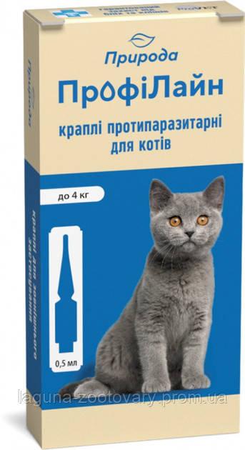 Капли на холку Профілайн для кошек до 4кг 1упаковка./4 пипетки по 0,5мл) от блох и клещей