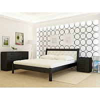 Кровать деревянная YASON Las Vegas Лак Вставка в изголовье Titan Dark Brown (Массив Ольхи либо Ясеня), фото 1