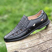Туфли босоножки мужские кожаные летние черные (код 286) - туфлі босоніжки чоловічі шкіряні літні чорні