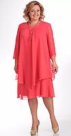 Платье Pretty-242/7 белорусский трикотаж, коралл, 50