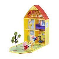 Игровой набор Peppa - ДОМ ПЕППЫ С ЛУЖАЙКОЙ (домик с аксессуарами, 2 фигурки)