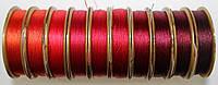 Нить для бисера Лантан (Lantan), микс бордово-красный из 10 цветов