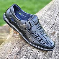 Туфли босоножки кожаные мужские летние черные (код 289) - туфлі босоніжки чоловічі шкіряні літні чорні