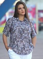 Блузкаженская летняя батальная блуза трикотажная больших размеров, коричневая