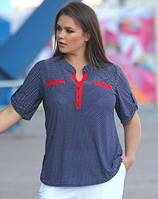 3bf30818ebb Блуза женская летняя в горошек блузка трикотажная больших размеров