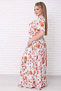 / Размер 42-72 / Женское летнее цветочное платье со штапеля Елена цвет астры оранж, фото 3