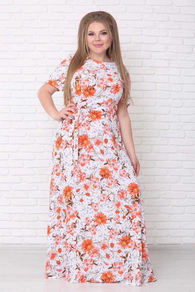 / Размер 42-72 / Женское летнее цветочное платье со штапеля Елена цвет астры оранж