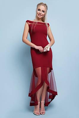 Вечернее асимметричное бордовое платье
