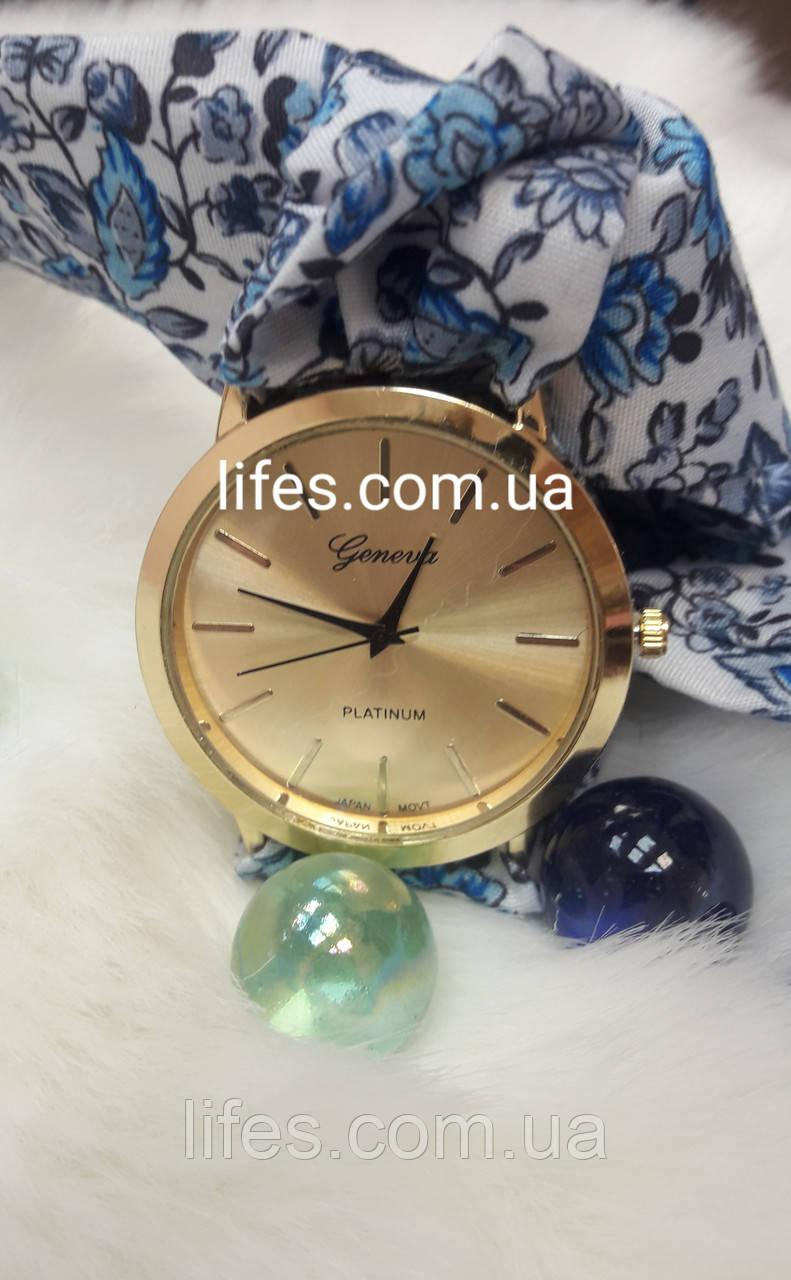 Женские часыGeneva ткань  цветочный принт.