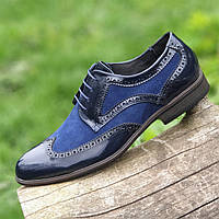 Туфли мужские кожаные модельные лаковые броги на шнурках синие ( код 944 )