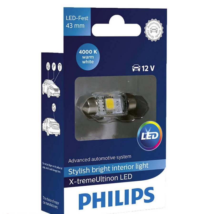 Автолампа LED Philips X-tremeVision C5W (43мм) 4000K 12V 129454000KX1  (1 шт.)