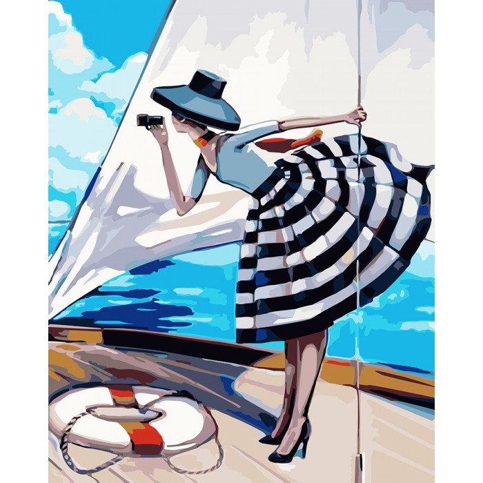 Картина по номерам Роспись на холсте  Прогулка на яхте КНО2644