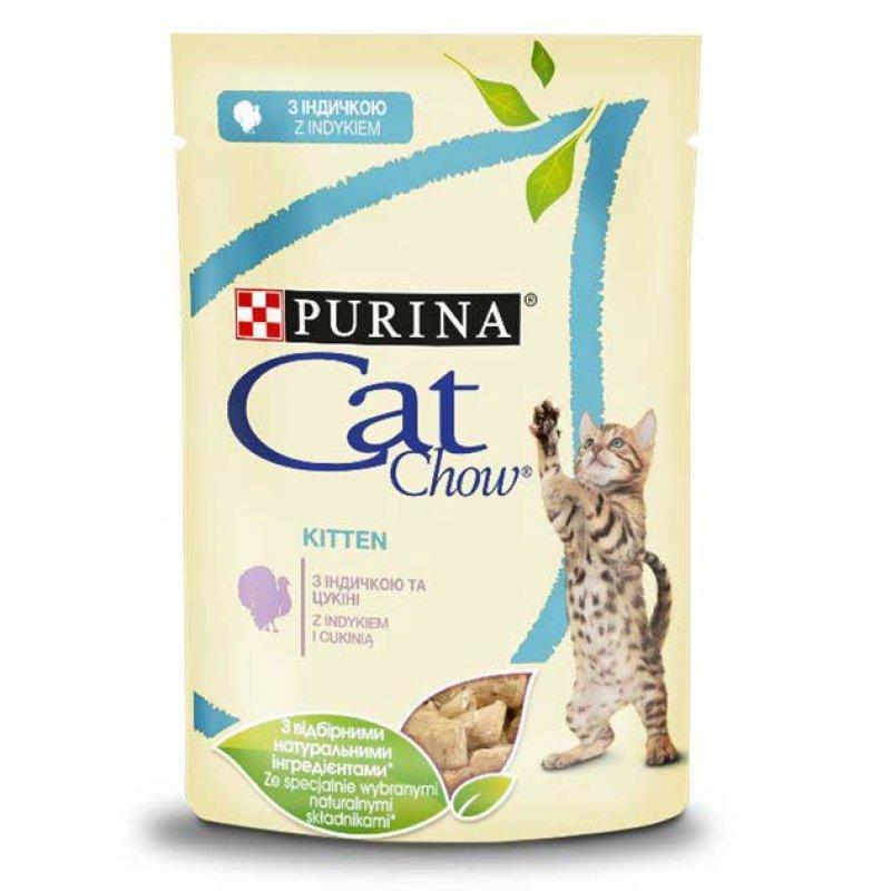 Cat Chow Kitten - консервы Кэт Чау с индейкой и цуккини в желе для котят 24 шт