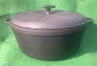 Казан чугунный  10 литров с чугунной крышкой.Посуда чугунная.
