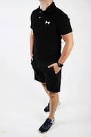 Футболка поло Under Armour + шорты мужские летние черные стильные, фото 1