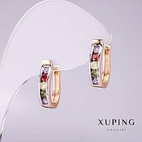 Серьги Xuping с разноцветными камнями 15х4мм позолота 18к