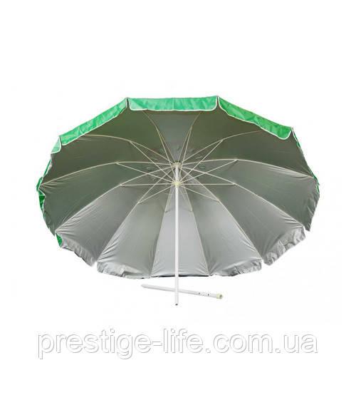 Зонт диаметром 2,4 м. Пластиковые спицы. Серебренное покрытие. Зелёный