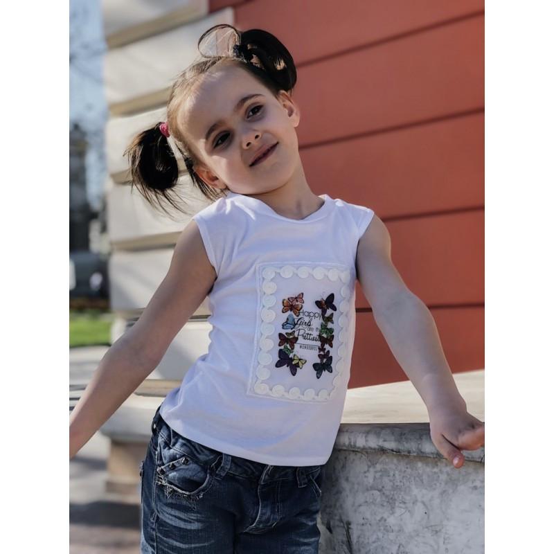Детская Футболка вышивка Бабочки мод.2217