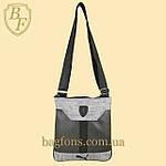 Мужская стильная сумка барсетка через плечо черная с серым  Ferrari Puma., фото 2