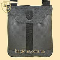 Мужская стильная сумка барсетка через плечо черная  Ferrari Puma.