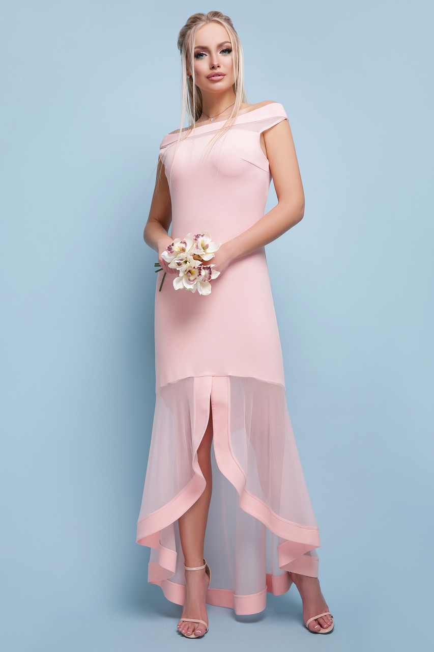 Выпускное платье длинное персиковое с сеткой