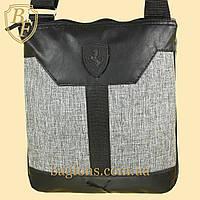 Мужская стильная сумка барсетка через плечо черная с серым  Ferrari Puma.