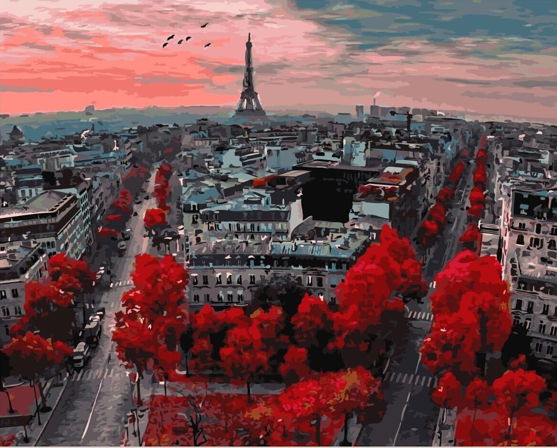 Картина по номерам Brusme  Алые краски парижа