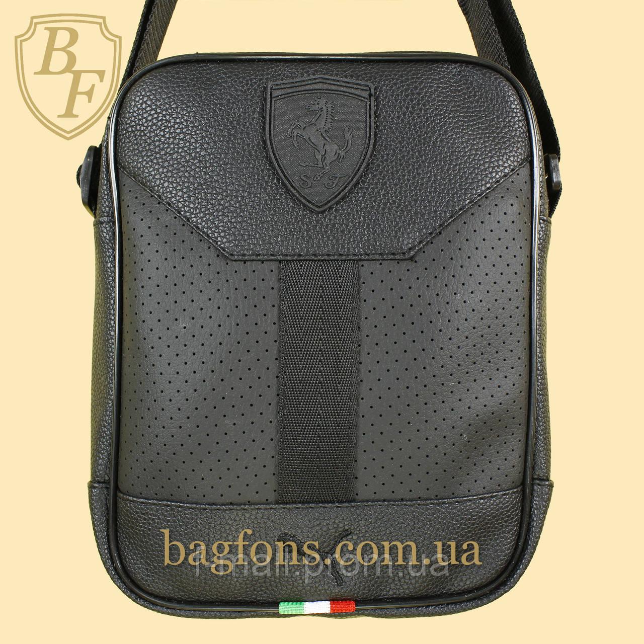 Мужская стильная сумка барсетка через плечо черная эко-кожа Ferrari Puma черный.