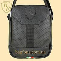 Мужская стильная сумка барсетка через плечо черная эко-кожа Ferrari Puma.