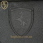 Мужская стильная сумка барсетка через плечо черная эко-кожа Ferrari Puma черный., фото 4