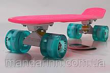 Пени борд Original 22 Розовый. Светящиеся Бирюзовые колеса